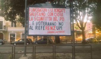 Carovana cartello sconfitta PD
