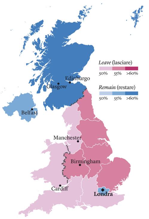 Gran Bretagna Cartina.La Mappa Del Voto La Brexit Rischia Di Disintegrare La Gran