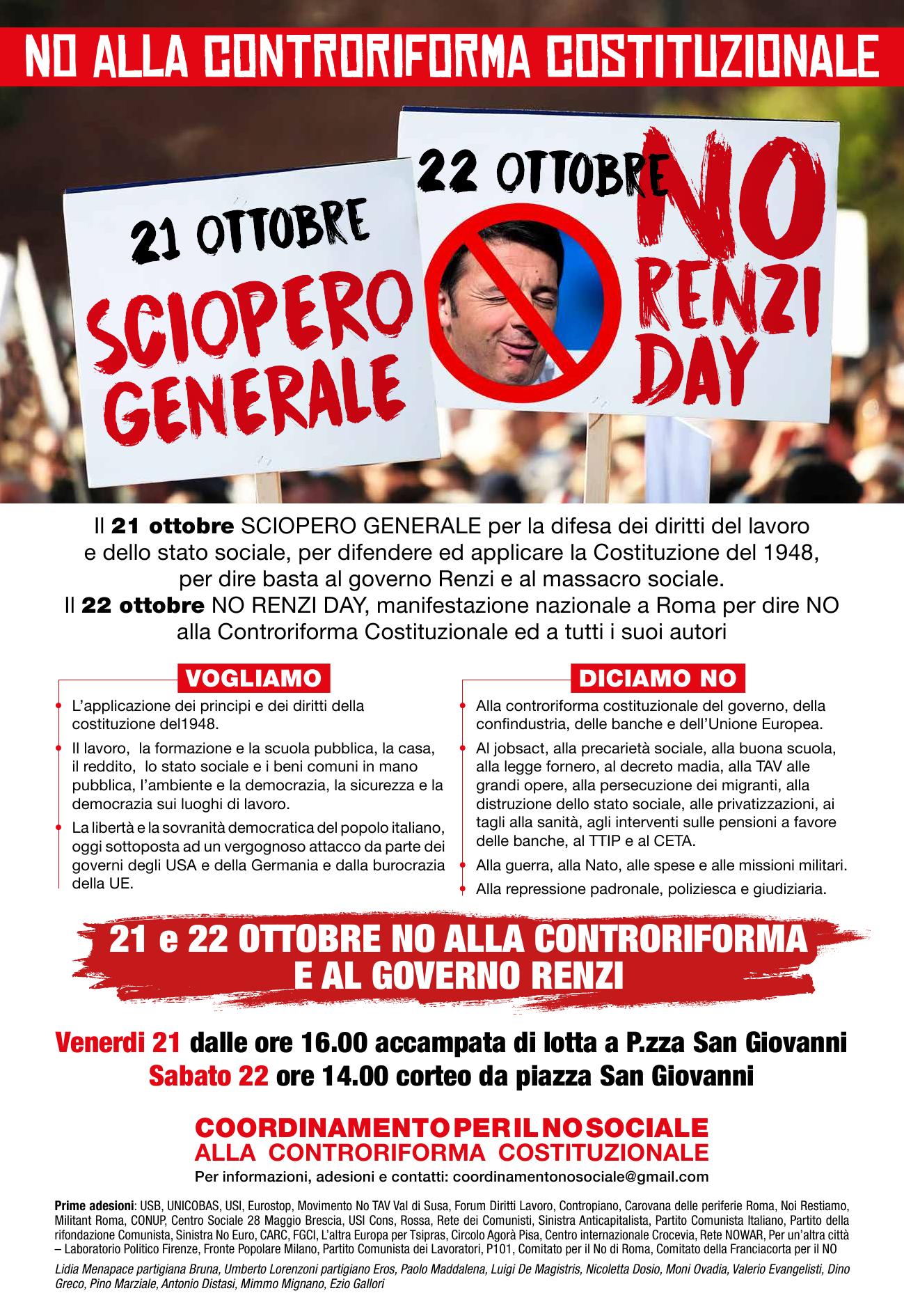 Risultati immagini per roma 21 ottobre no renzi day