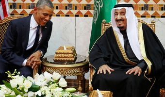 U.S. President Barack Obama meets with Saudi Arabia's King Salman (R) at Erga Palace in Riyadh, January 27, 2015. Obama is stopping in Saudi Arabia on his way back to Washington from India to pay his condolences over the death of King Abdullah and to hold bilateral meetings with King Salman.