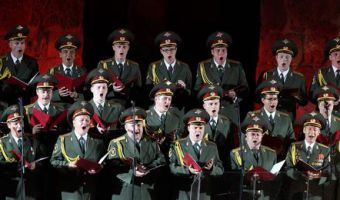epa05687779 (FILE) - A file picture dated 12 July 2013 shows members of the Russian Red Army Choir performing at the Roman theater of Carthage during the International Festival of Carthage in Tunis, Tunisia. According to media reports on 25 December 2016, a Tu-154 Russian military plane carrying at least 90 people disappeared from radar and crashed into the Black Sea 20 minutes after taking off from an airport in the Russian resort town of Sochi. The plane was reportedly carrying military personnel and members of the Russian Red Army Choir (also known as the Alexandrov Ensemble), who were to perform for Russian troops stationed in Syria.  EPA/MOHAMED MESSARA