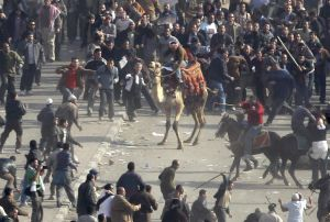 Pro-government demonstrators, some riding camels and horses and armed with sticks, clash with anti-government demonstrators in Tahrir square, the center of anti-government demonstrations, in Cairo, Egypt Wednesday, Feb. 2, 2011. (AP Photo/Ben Curtis)