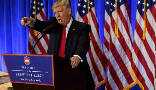US President-elect Donald Trump speaks during a press conference January 11, 2017 at Trump Tower in New York. Trump held his first news conference in nearly six months Wednesday, amid explosive allegations over his ties to Russia, a little more than a week before his inauguration. / AFP PHOTO / TIMOTHY A. CLARYTIMOTHY A. CLARY/AFP/Getty Images