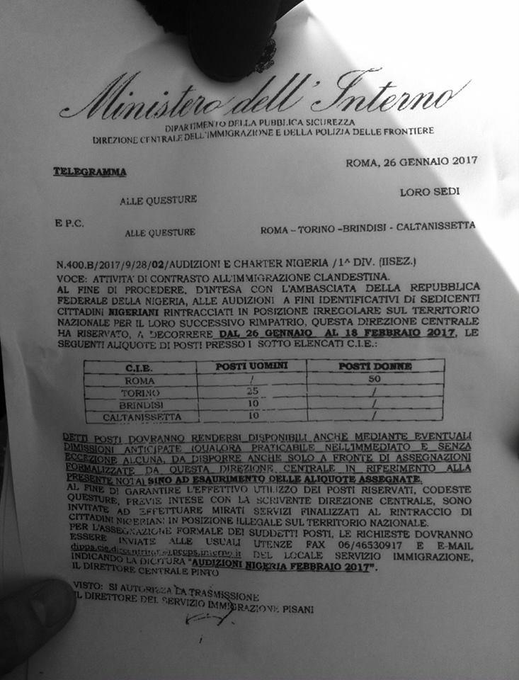 In italia caccia ai nigeriani l 39 ordine che viene dal for Ministero dell interno immigrazione permesso di soggiorno